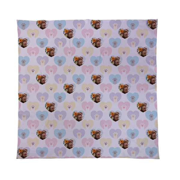 Scatter Pet Hearts - Personalised Photo Fleece Blanket