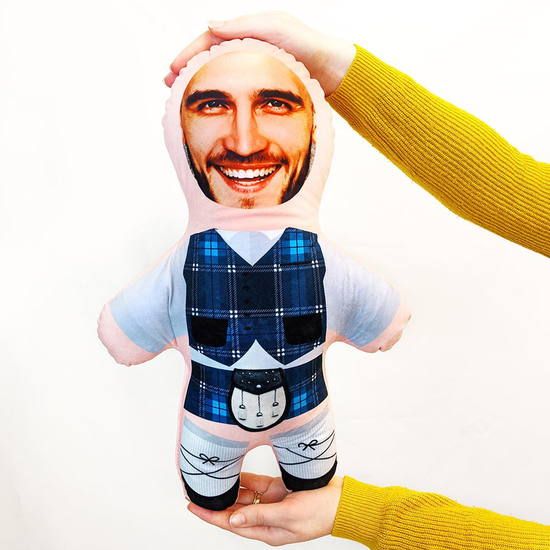 blue tartan scottish mini me doll