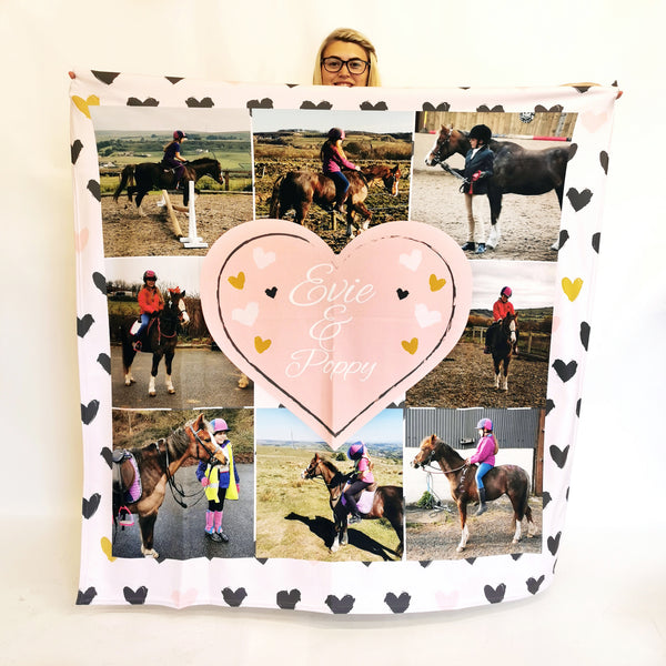 Sketched Hearts - Personalised Photo Fleece Blanket