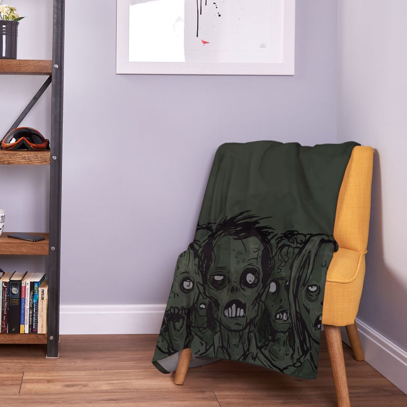 Sketched Zombie - Halloween Fleece Throw