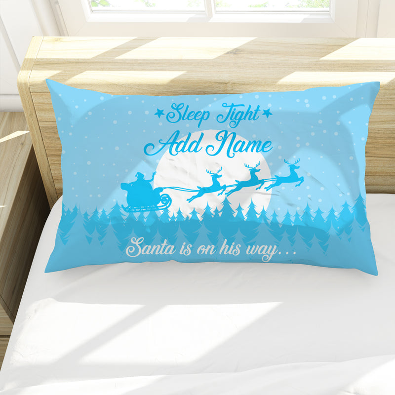 Christmas Eve - Blue - Personalised Pillow Case