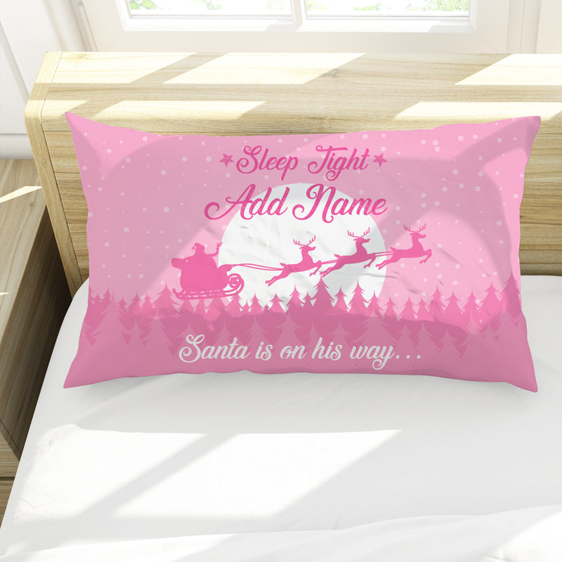 Christmas Eve - Pink - Personalised Pillow Case
