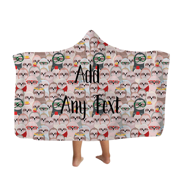 Sloths All Over - Hooded Blanket - Kids