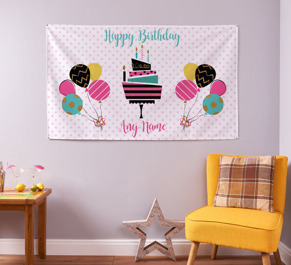 Custom Spotted Birthday Party Name Banner - 5ft x 3ft