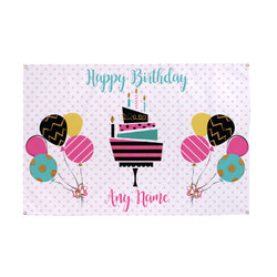 Personalised Spotted Birthday Party Name Banner - 5ft x 3ft