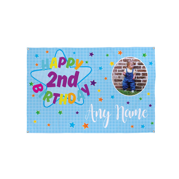 Kids Blue Stars Birthday Banner - 5ft x 3ft
