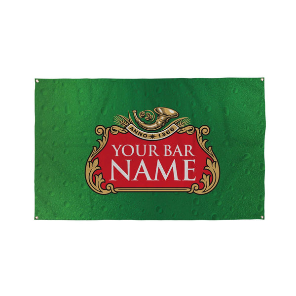 Green Beer Label Bar Banner - 5ft x 3ft, Funny Personalised Pub Sign