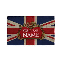 Union Jack Bar Name Banner - 5ft x 3ft | Funny Personalised Pub Sign UK