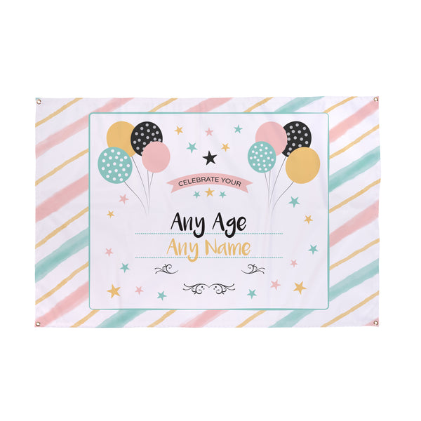 Personalised Stripey Birthday Party Name & Age Banner - 5ft x 3ft