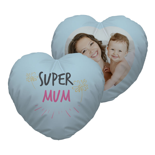 Super Mum - Photo Heart Shaped Cushion