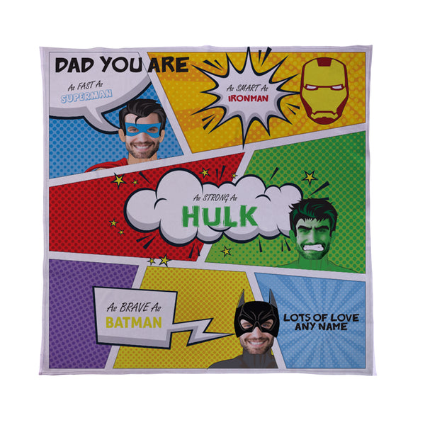 Superhero Dad - Personalised Photo Fleece Blanket