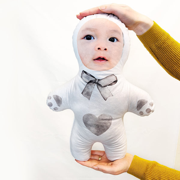 grey teddy neutral mini me doll
