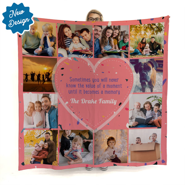 Memory Quote - Pink -  Photo Fleece Blanket