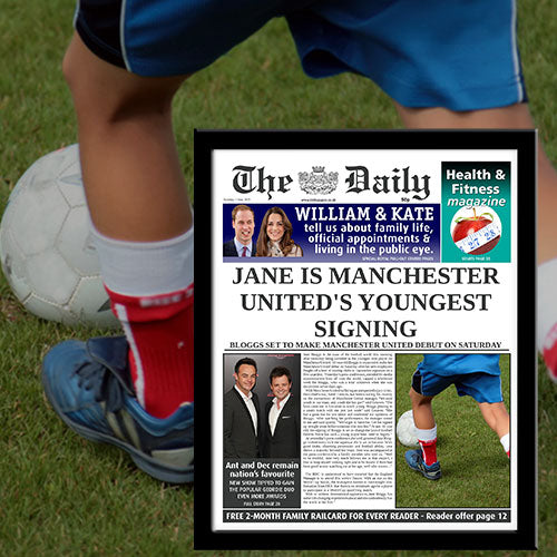Personalised The Daily Newspaper Youngest Signing News Single Page Print - Female