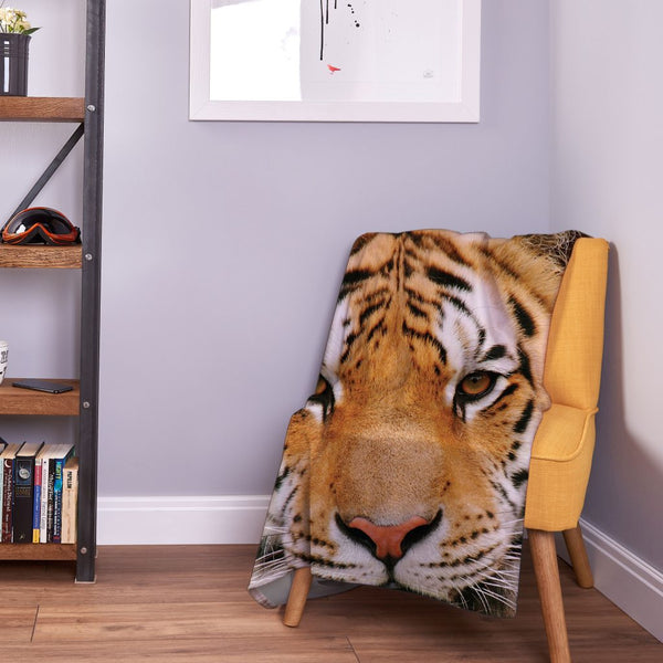 Tiger Face - Fleece Throw