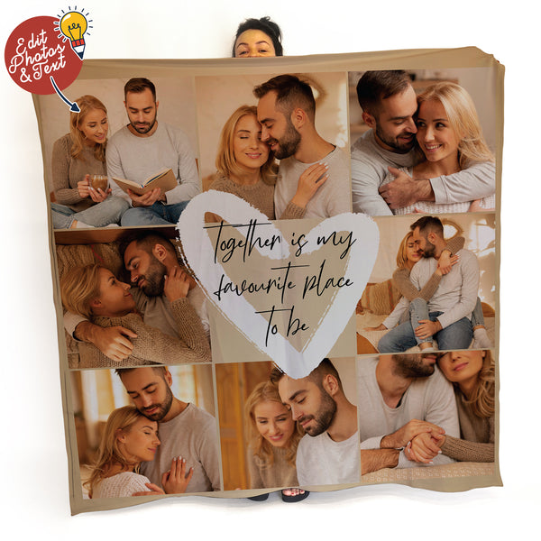 Together is My Favourite Photo Blanket - 8 Photo - Personalised Fleece