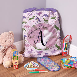 Personalised Girls Dino - Laundry Bag