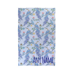 tropical bird personalised beach towel
