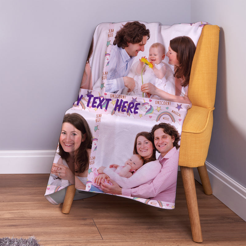 Magical Unicorn - 4 Photo - Personalised Photo Fleece Blanket