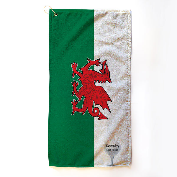 Personalised Microfibre Golf Towel - Welsh Flag