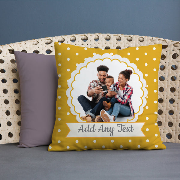 Yellow Polka Dot Photo - 45cm Cushion