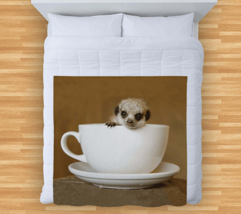 Meerkat Tea Cup Fleece Throw UK | Made in England