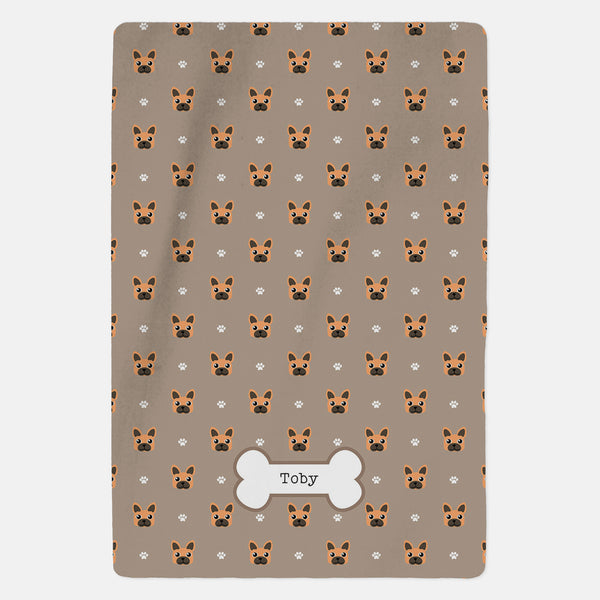 Personalised Brown French Bulldog Blanket - Pattern