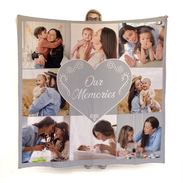 Grey and White Heart -  Photo Fleece Blanket