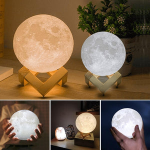 Rechargeable USB 3D Print Moon Lamp