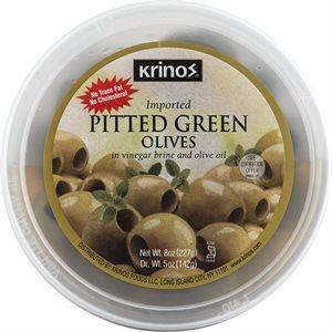 KRINOS Pitted Green Olives 8oz cup / Yeşil Çekirdeksiz Zeytin - Turkish Food Basket
