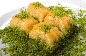 Homemade Fresh Baklava with Double Pistachio 1 Lb - Turkish Food Basket