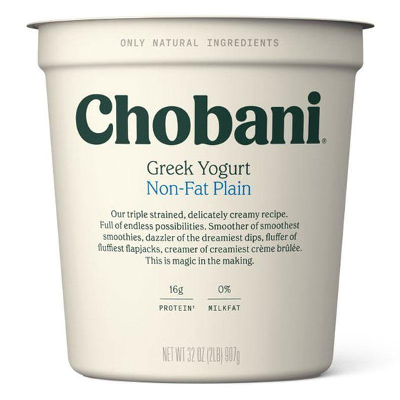 Chobani Non Fat Plain Yogurt 907 Gr