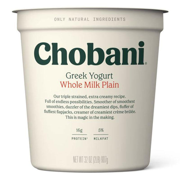 Chobani Whole Milk Plain Yogurt 907 Gr