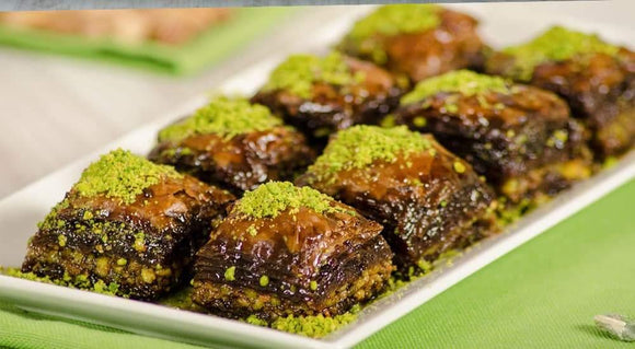 Homemade Fresh Baklava with Double Pistachio and Chocolate/ Cikolatali Baklava - Turkish Food Basket