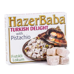 hazer baba turkish delight with pistachio turk tatlisi lokumu antep fistikli turkish food basket turkish cousine nuts snacks turk yemek gida sepeti biskuvi atistirmalik online shopping delivery internetten alisveris eve teslimat