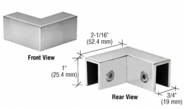 "90 Degree ""Sleeve Over"" Glass Clamp"