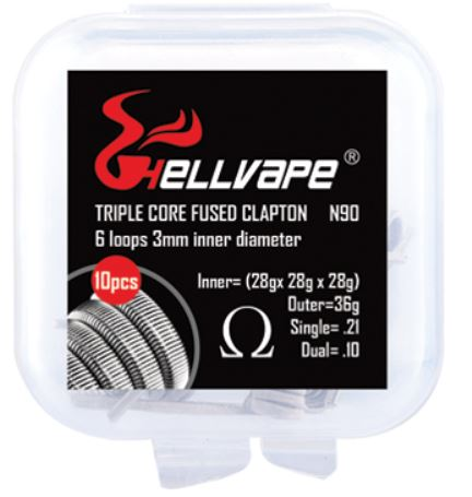 Hellvape NI90 Triple Fused Clapton Pre-built 0.21Ohm 10Pcs - East End Vapes