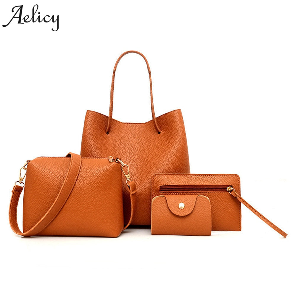 338425d365 Click to enlarge. Home Aelicy Women 4Pcs Women Pattern Leather Handbag Tote Ladies  Purse High ...