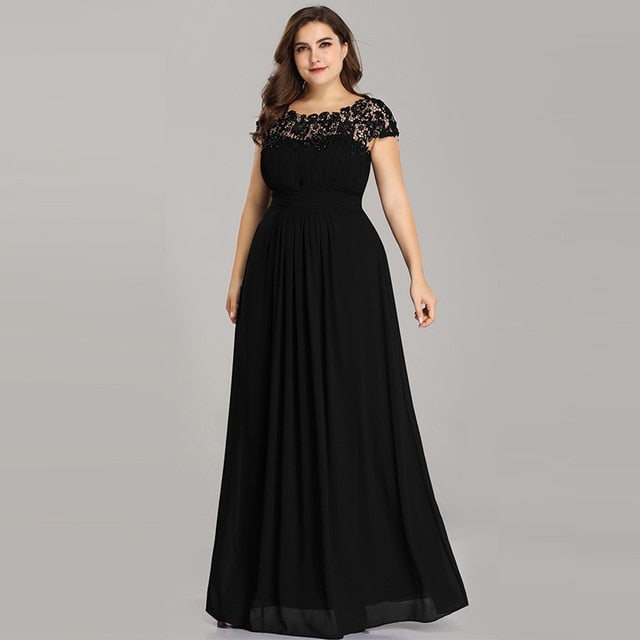 5a54840773a Click to enlarge. Home Ever Pretty Plus Size Evening Dresses 2018 New  Arrival Elegant A Line Chiffon Open Back Long Lace ...