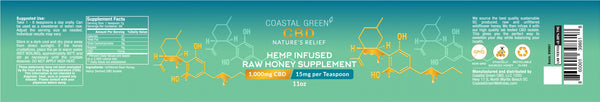 Coastal Green CBD 1,000mg Infused Raw Honey - 0.00% THC