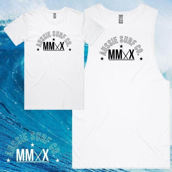 ASC MMXX Front Logo Print White/Black Tee or Muscle