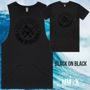ASC MMXX Front Palm Print Black/Black Tee or Muscle