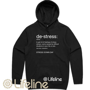 Lifeline - Stress Down Day Hoodie - Womens - Black or White