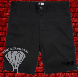 THE STRUGGLE -  Mens - AS Plain Shorts - Left Leg Print - Black on Black
