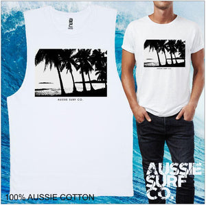 AUSSIE SURF CO Black Palms Mens T-Shirt or Muscle Tee