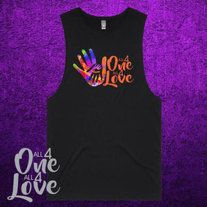ALL 4 ONE ALL 4 LOVE - Muscle Tee - Mens - Black or White
