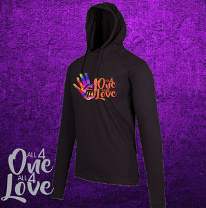 ALL 4 ONE ALL 4 LOVE - Mens - T-Shirt Hoodie - Lightweight - Black