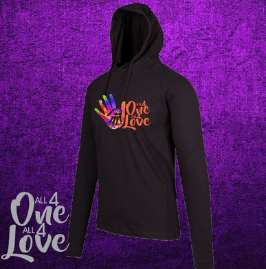 ALL 4 ONE ALL 4 LOVE - Ladies - T-Shirt Hoodie - Lightweight  - Black