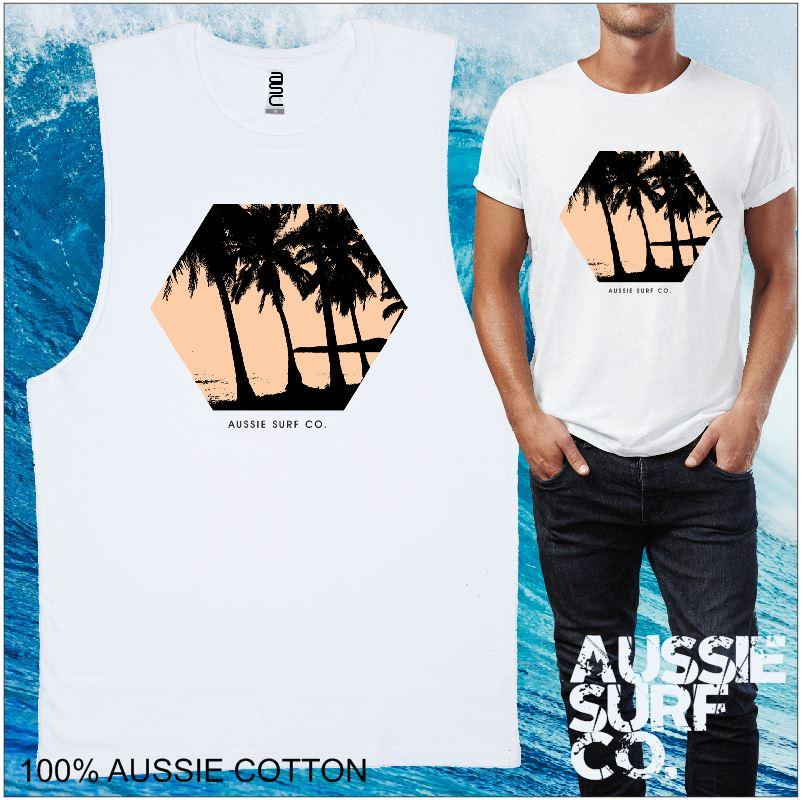 AUSSIE SURF CO Palms Mens T-Shirt or Muscle Tee