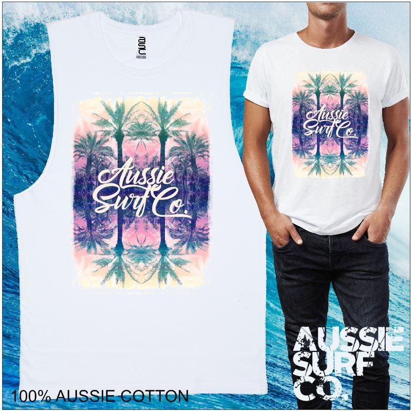 AUSSIE SURF CO Print Mens T-Shirt or Muscle Tee